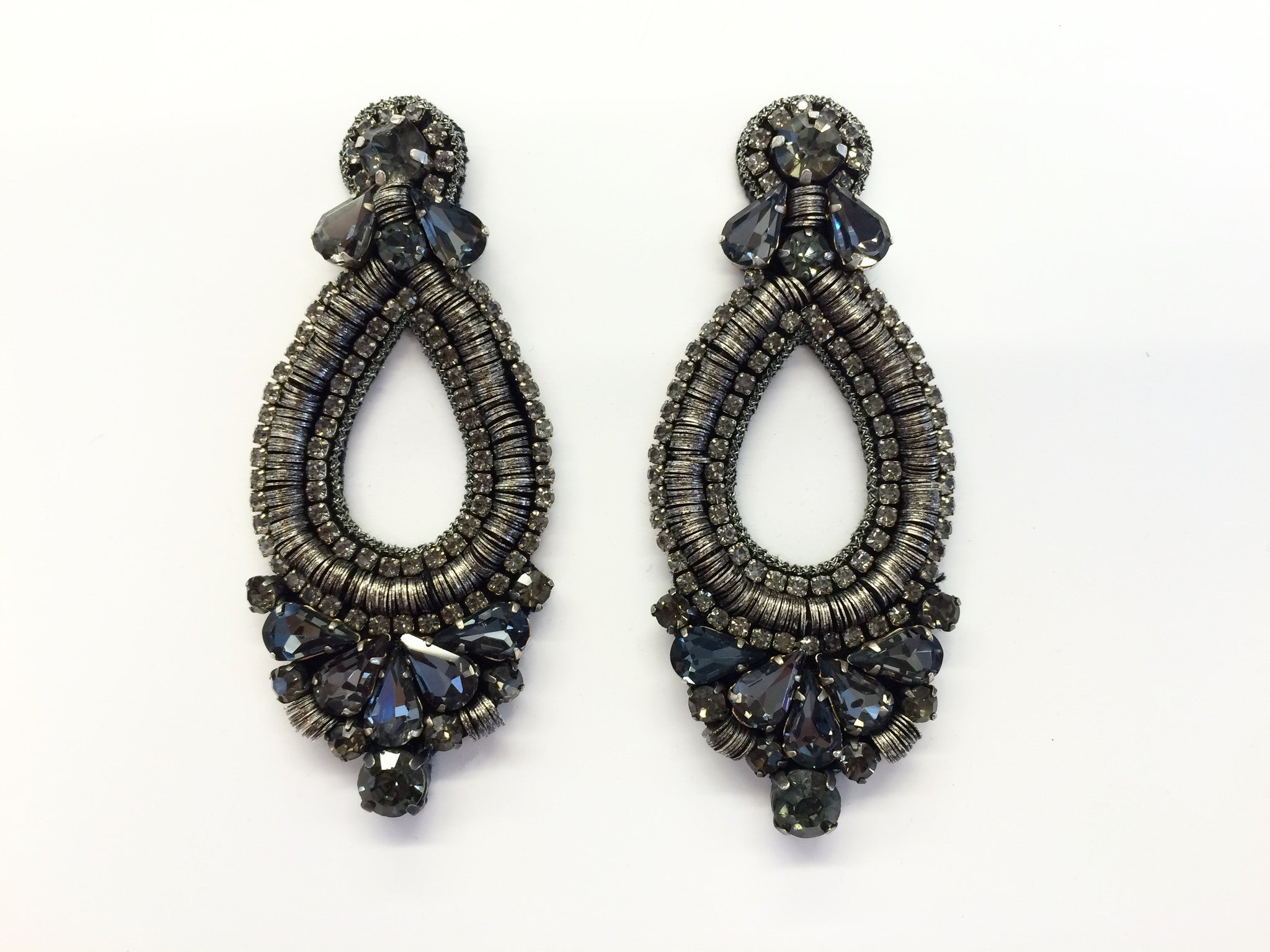 Earring with Black Diamond Crystal & Metal Sequins