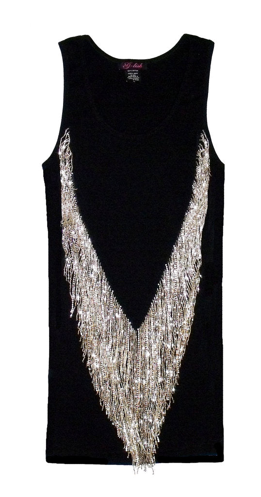 Tank with Dangling Bead & Crystal Fringe