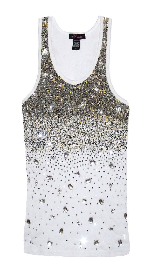 Tank with Silver Sequins & Crystal Scattering