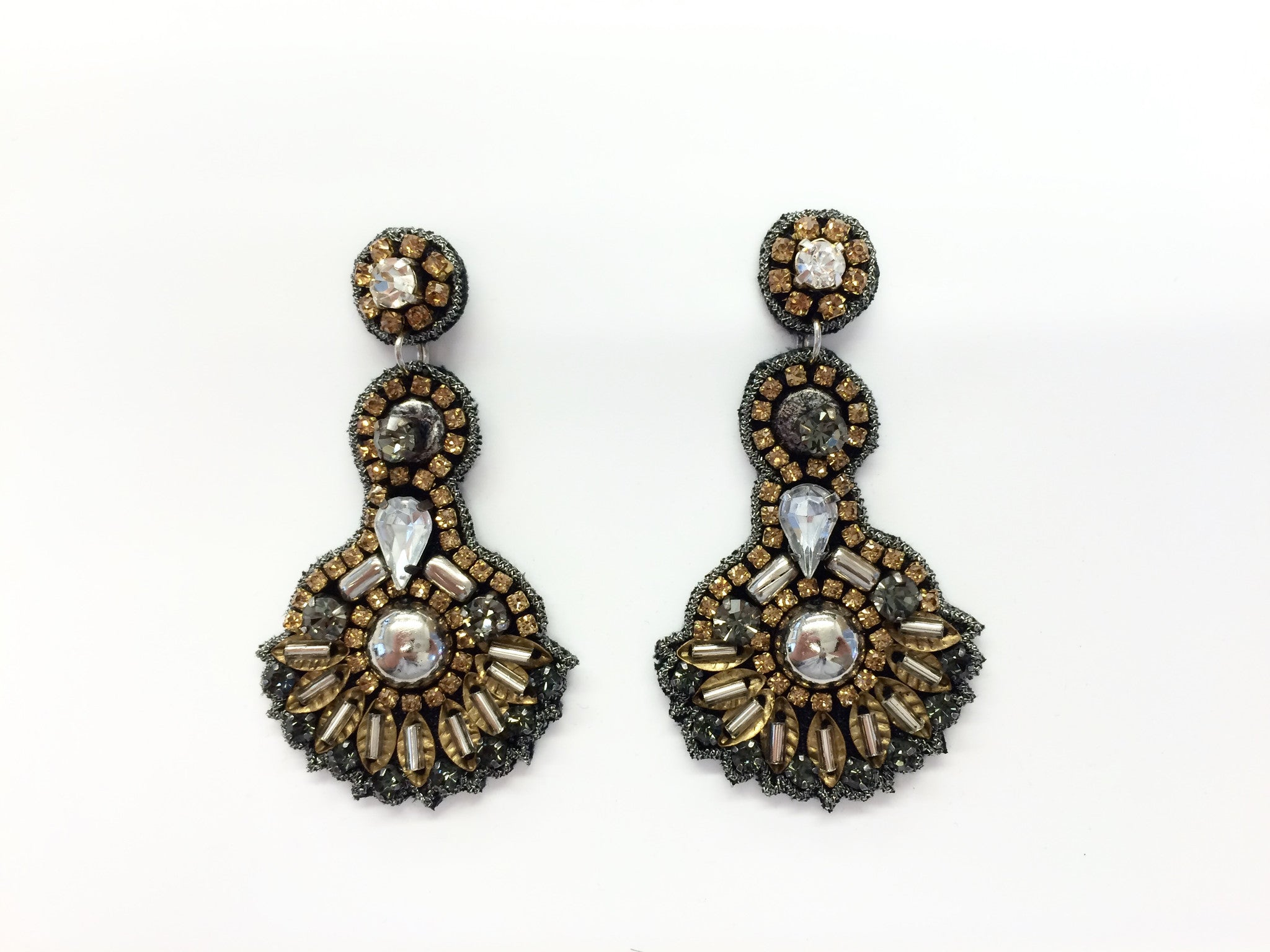 Earring with Beads & Crystals