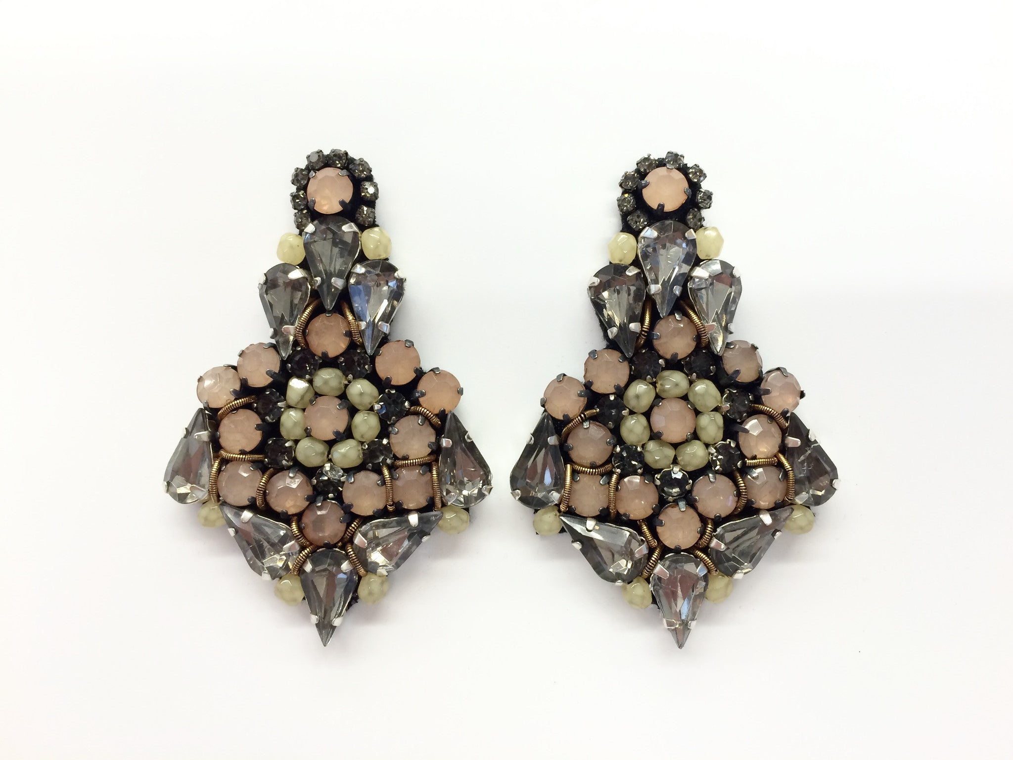 Earring with Blush & Black Diamond Crystals