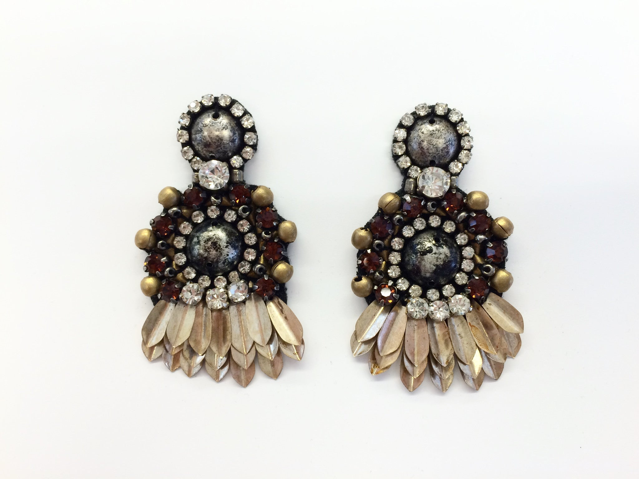 Earring with Metal Dome Sequins & Crystals