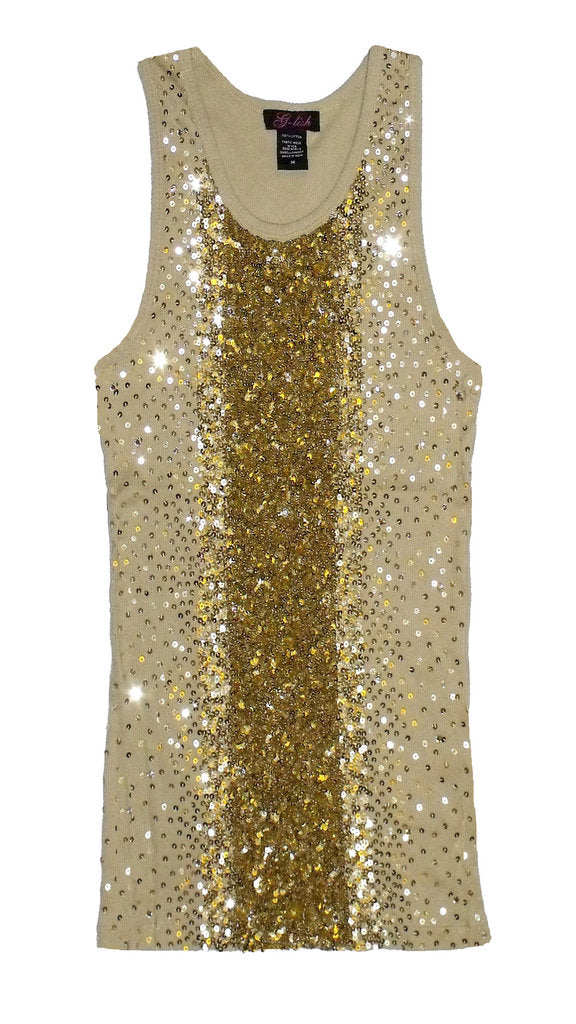 Tank with Vertical Gold Sequin Degrade