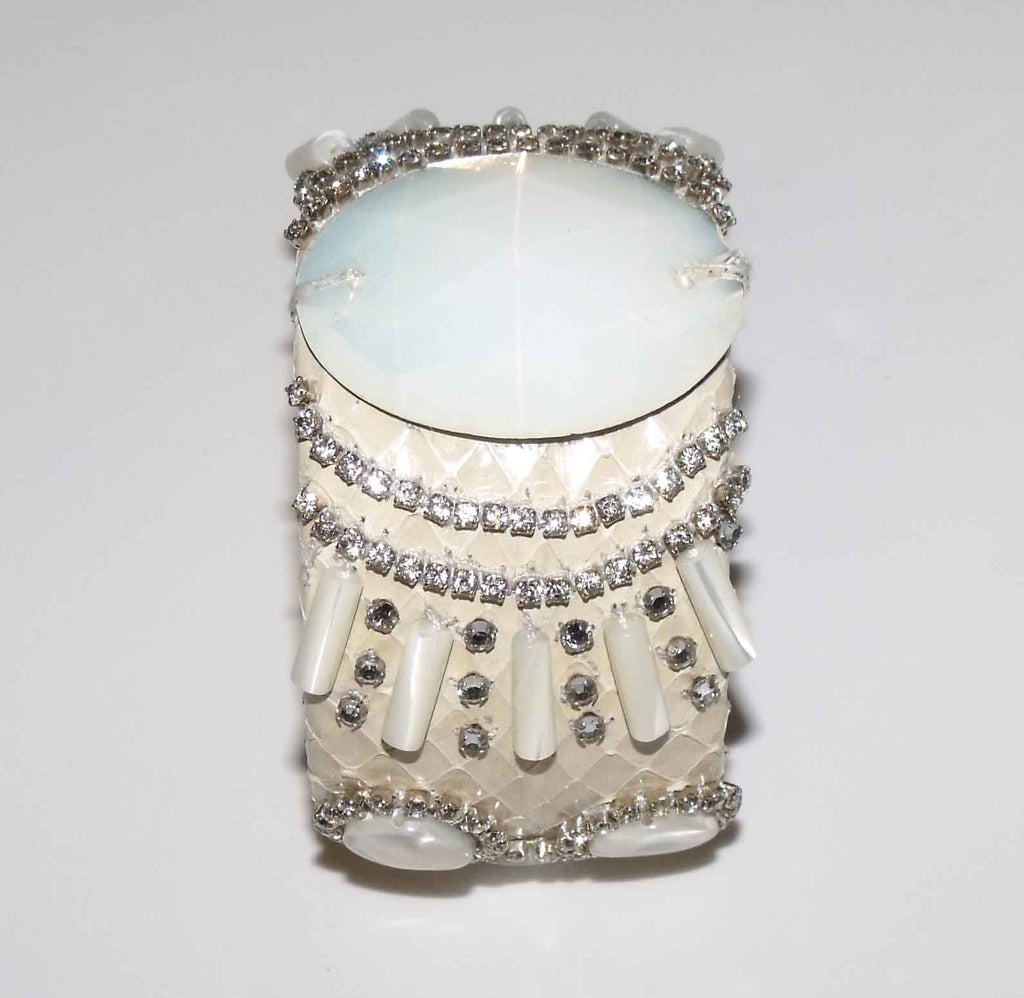 Snakeskin Cuff With Mother of Pearl Stones