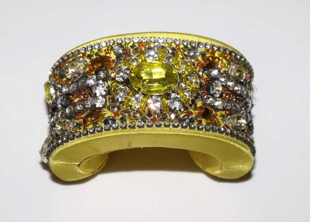 Yellow Crystal & Satin Cuff