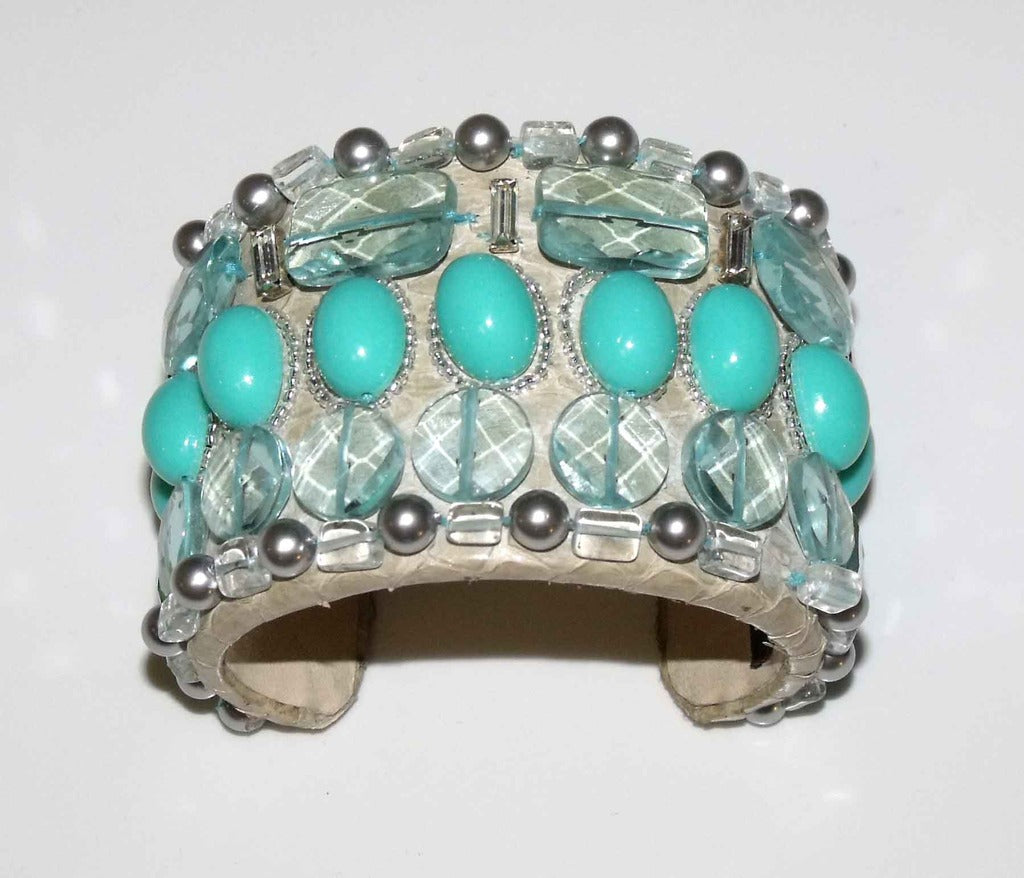 Snakeskin Cuff With Aquamarine Cabochon's, Pearls & Stones