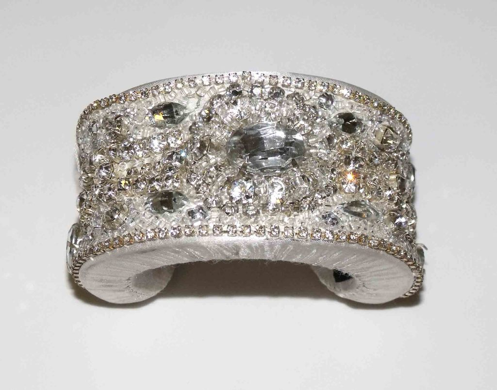 Silver Satin Jeweled Cuff