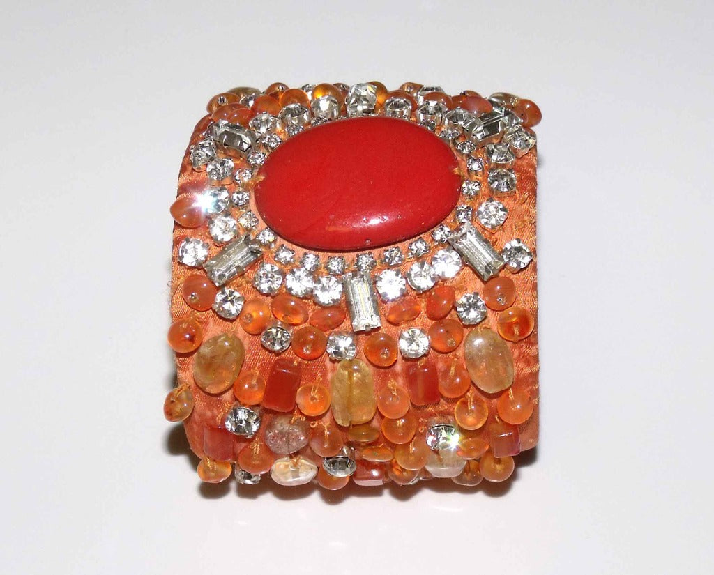 Orange Stone & Crystal Medallion Cuff