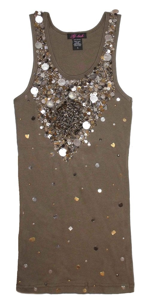 Tank with Metal Sequin Neckline