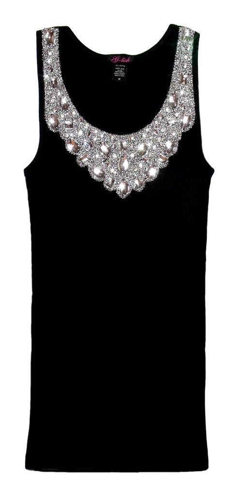 Tank with Large Crystal & Silver Sequin Neckline