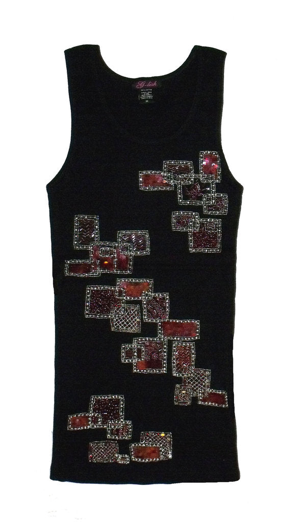 Tank with Square & Rectangular Abstract Pattern of Beads & Sequins