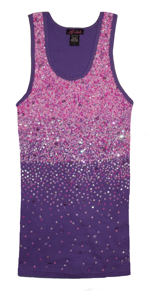 Tank with Purple & Pink Sequin Scattering