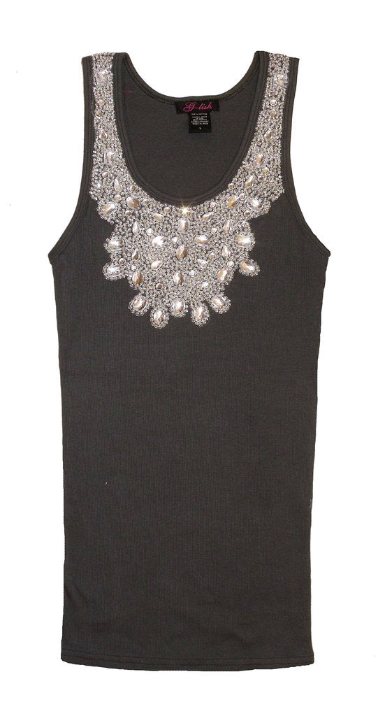 Tank with Crystal & Sequin Jeweled Neckline