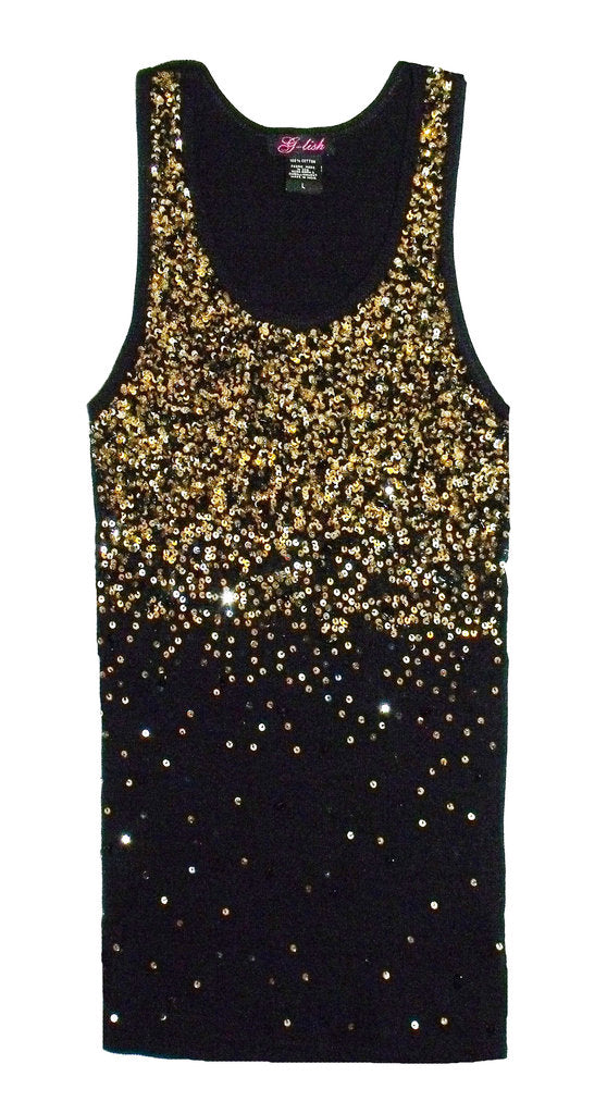 Tank with Gold & Black Sequin Degrade