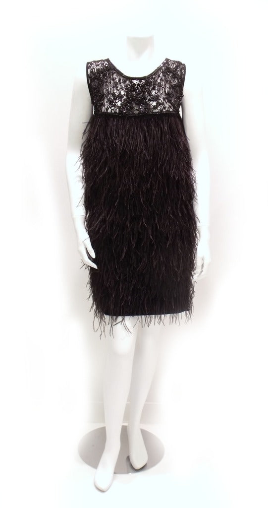 Lace Dress with Ostrich Feather Fringe