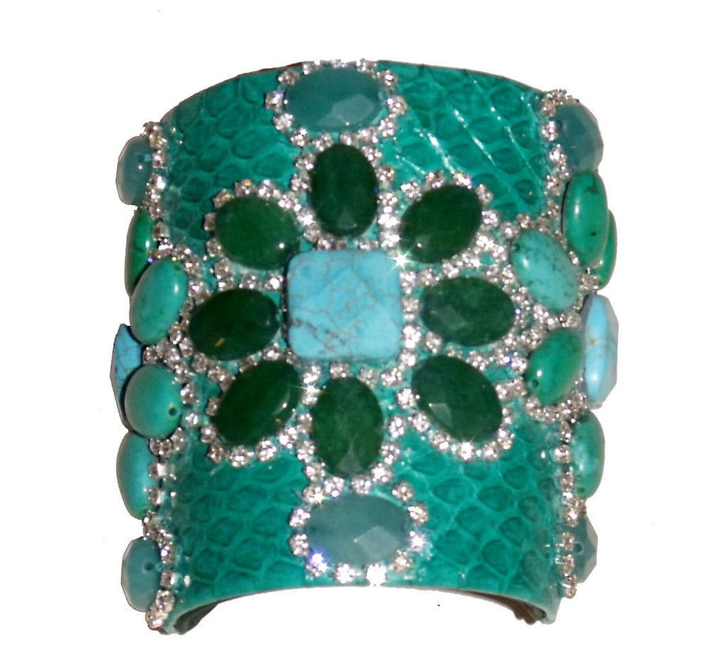 Green Python & Stone Beaded Cuff