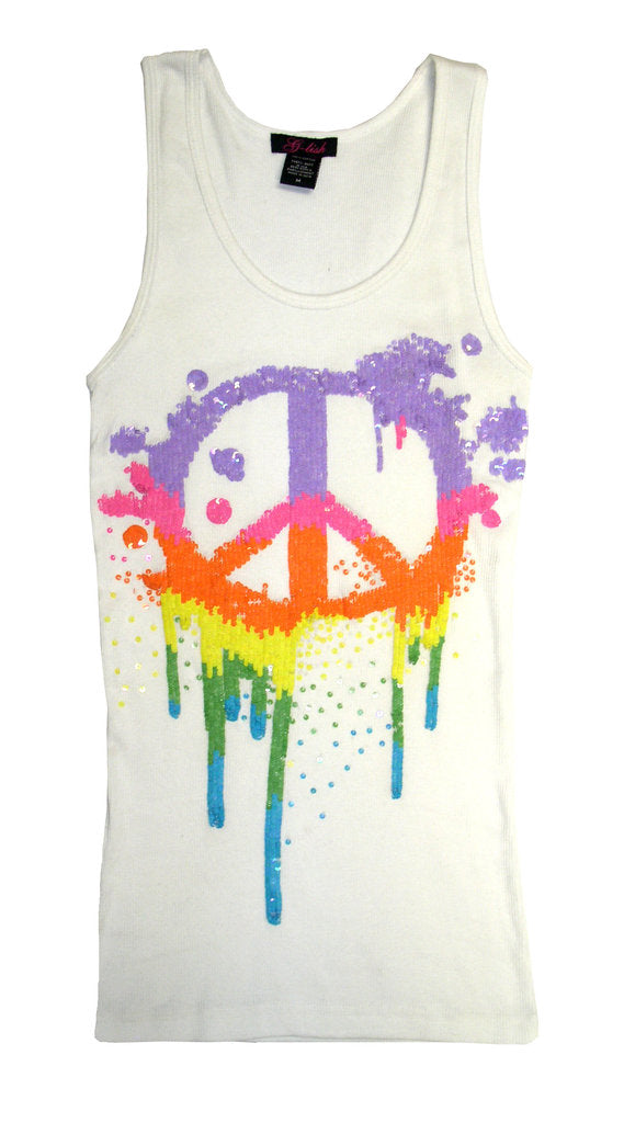 Tank with Rainbow Sequin Peace Symbol