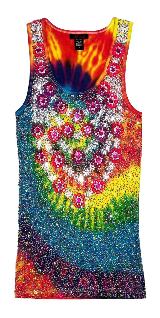 Tank with Crystal Flower Neckline & Beading