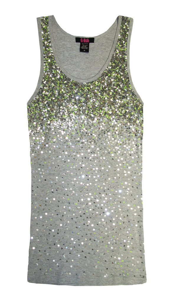 Tank with Silver Sequins & Lime Accents