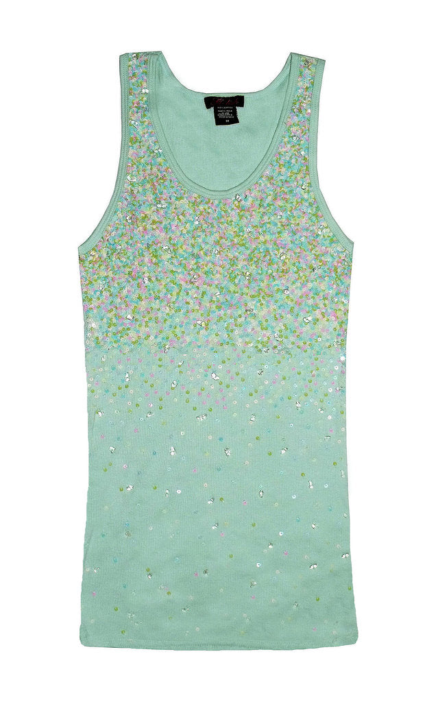 Tank with Pastel Sequin Scattering