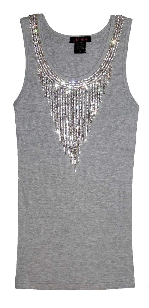 Tank with Dangling Diamond Chain Neckline