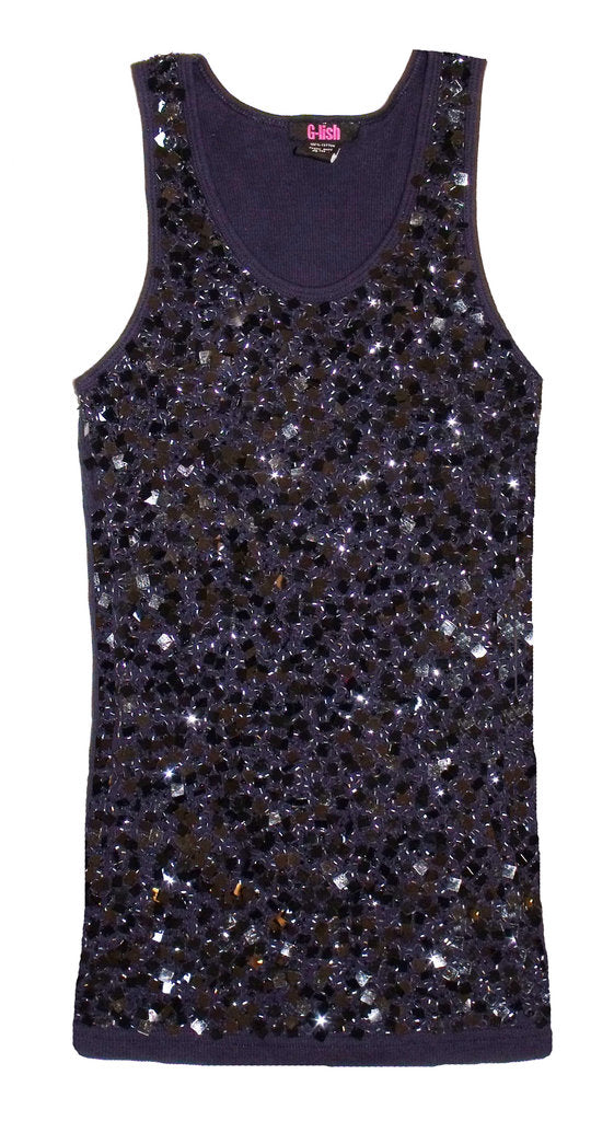 Tank with Square Sequin & Bead Scattering