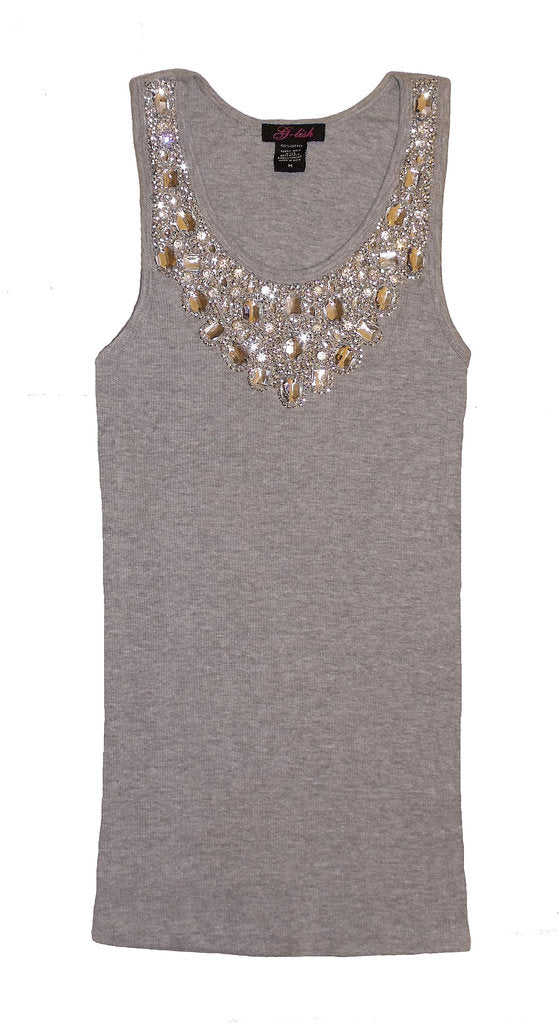 Tank with Sequin & Crystal Jeweled Neckline