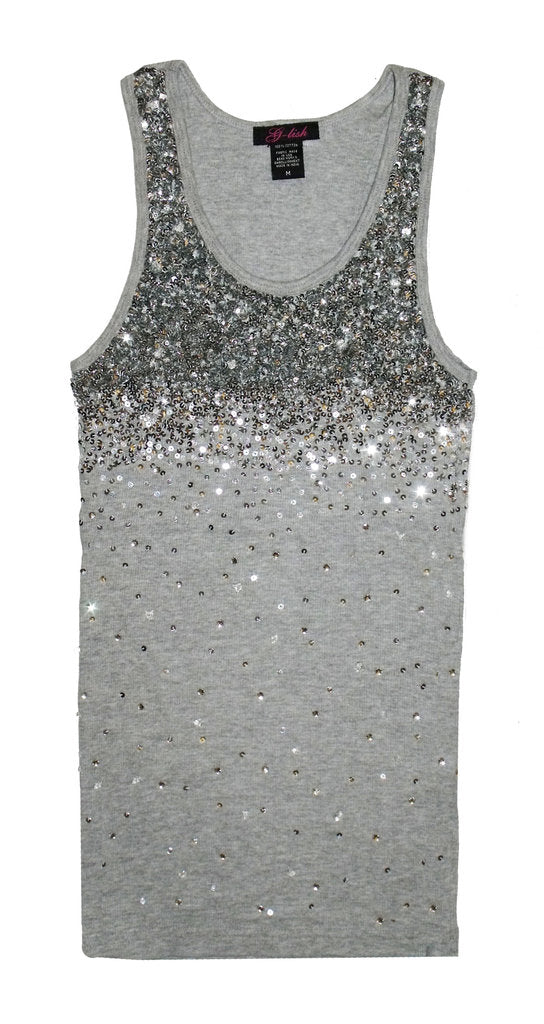 Tank with Silver Sequin & Crystal Degrade