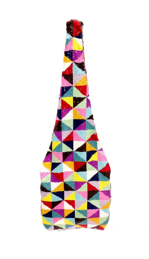 Multicolor Triangle Sequin Messenger Bag
