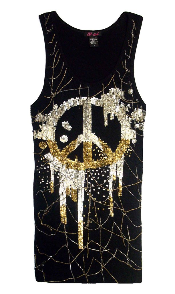 Tank with Metal Sequin Peace Symbol & Hanging Chains