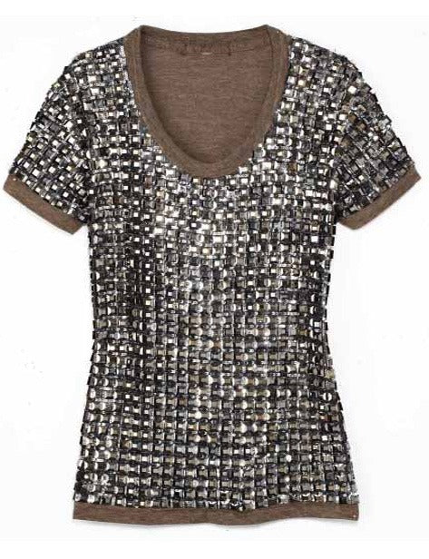 Tee with Hematite Square Crystal Design