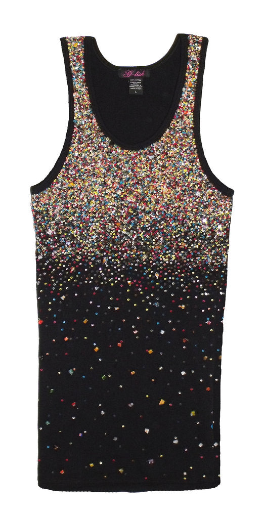 Tank with Multicolor Bead & Sequin Scattering