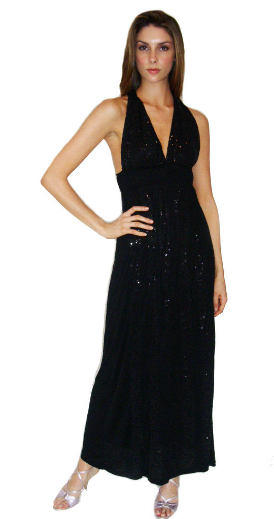 Long Halter Dress with Sequins