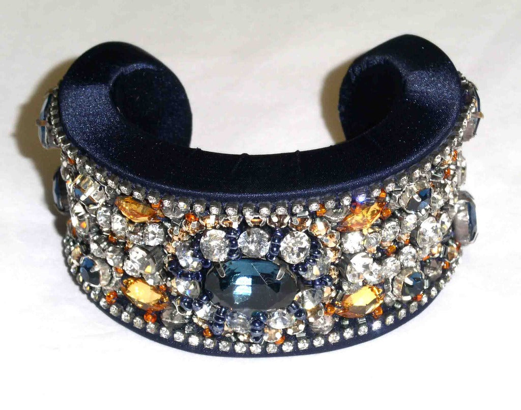 Blue Crystal & Satin Cuff