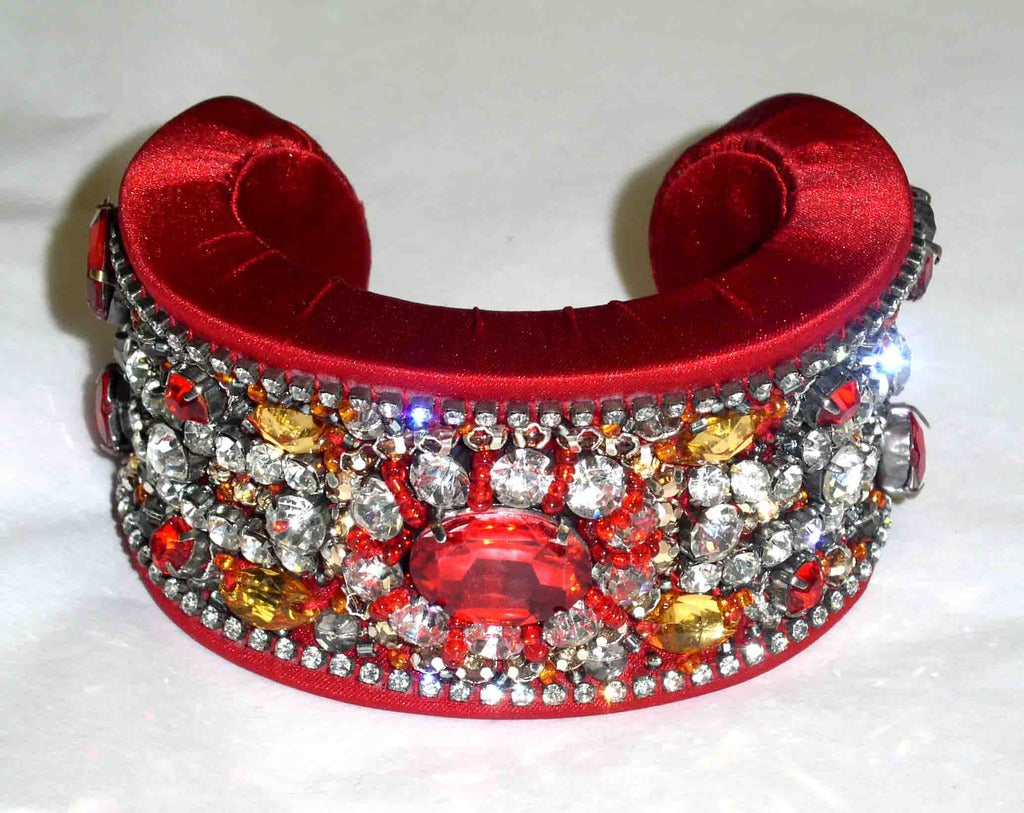 Red Crystal & Satin Cuff