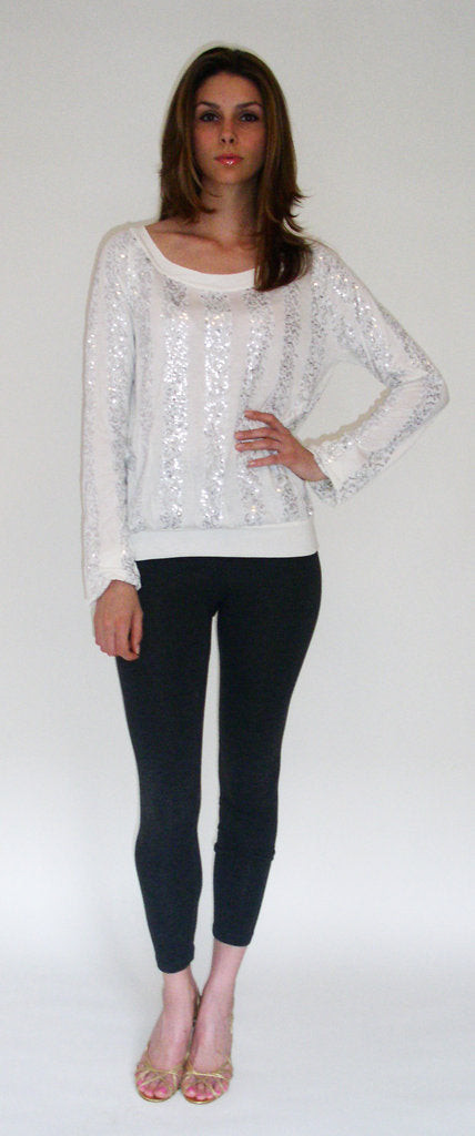 Raglan Sleeve Top with Sequin Stripes