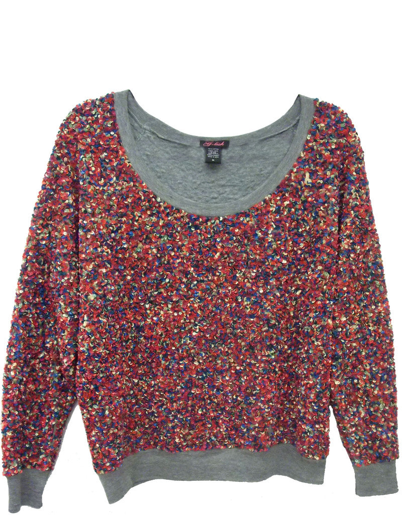 Sweatshirt with Multicolored Sequins