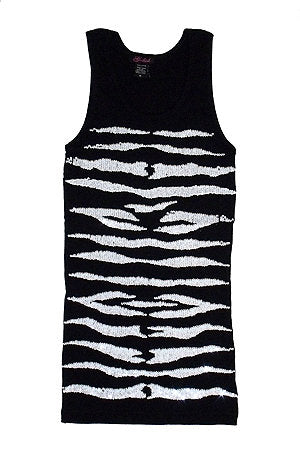 Tank with White Sequin Zebra Pattern