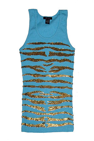 Tank with Gold Metal Sequin Zebra Pattern