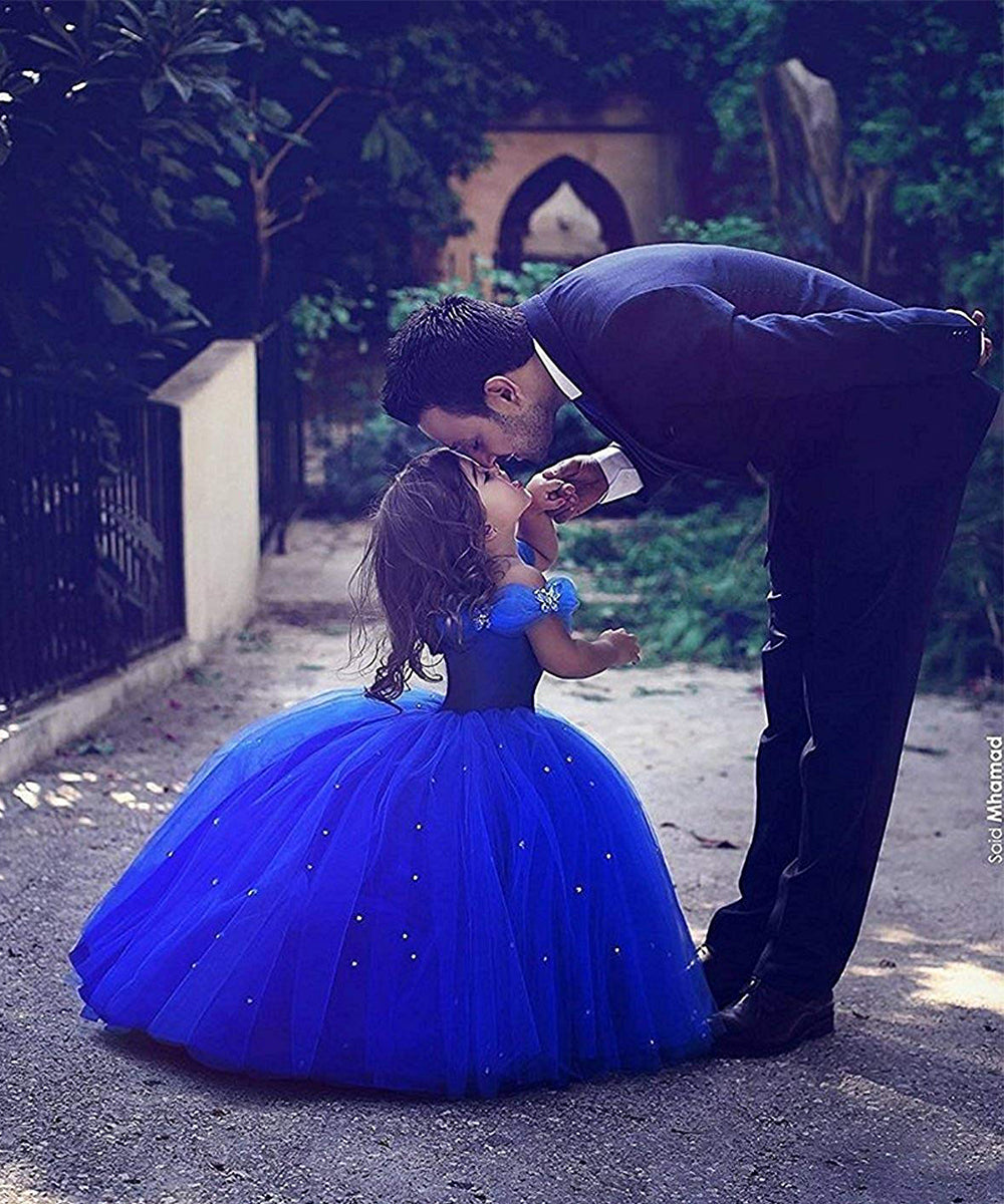 Blue Prom Puffy Tulle Princess Ball Gown Pageant Flower Girls Dresses