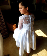AbaoWedding Satin First Communion Dresses for Girls with Sleeves Long Ball Gown