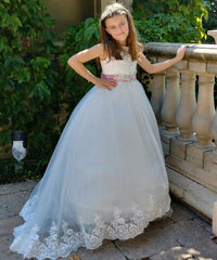 AbaoWedding Flower Girls Dresses Long Vintage Lace First Communion Pageant Ball Gowns