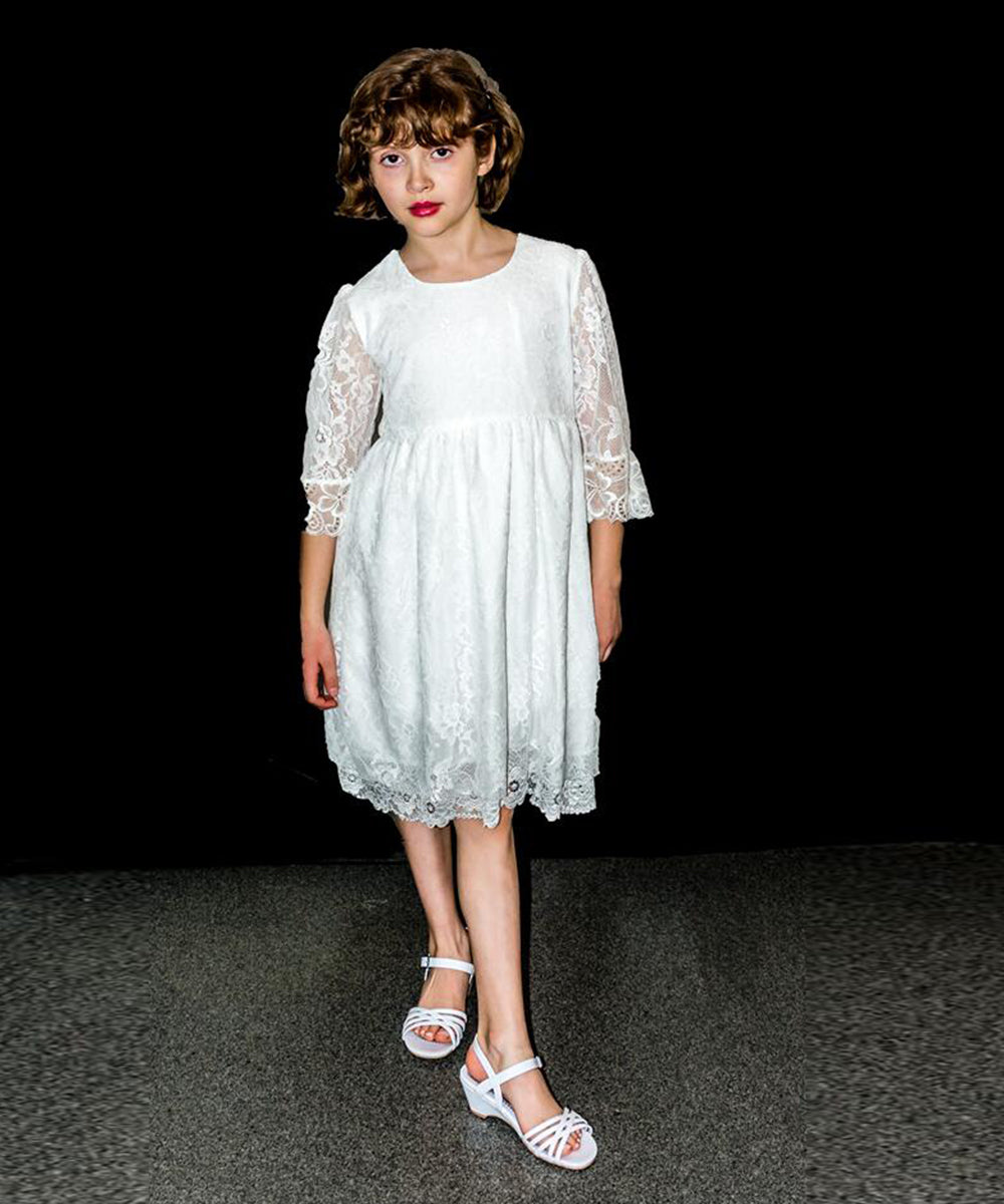 3dfca2d04e AbaoWedding Vintage Flower Girls Lace Dresses Sleeves Kids Party Gowns
