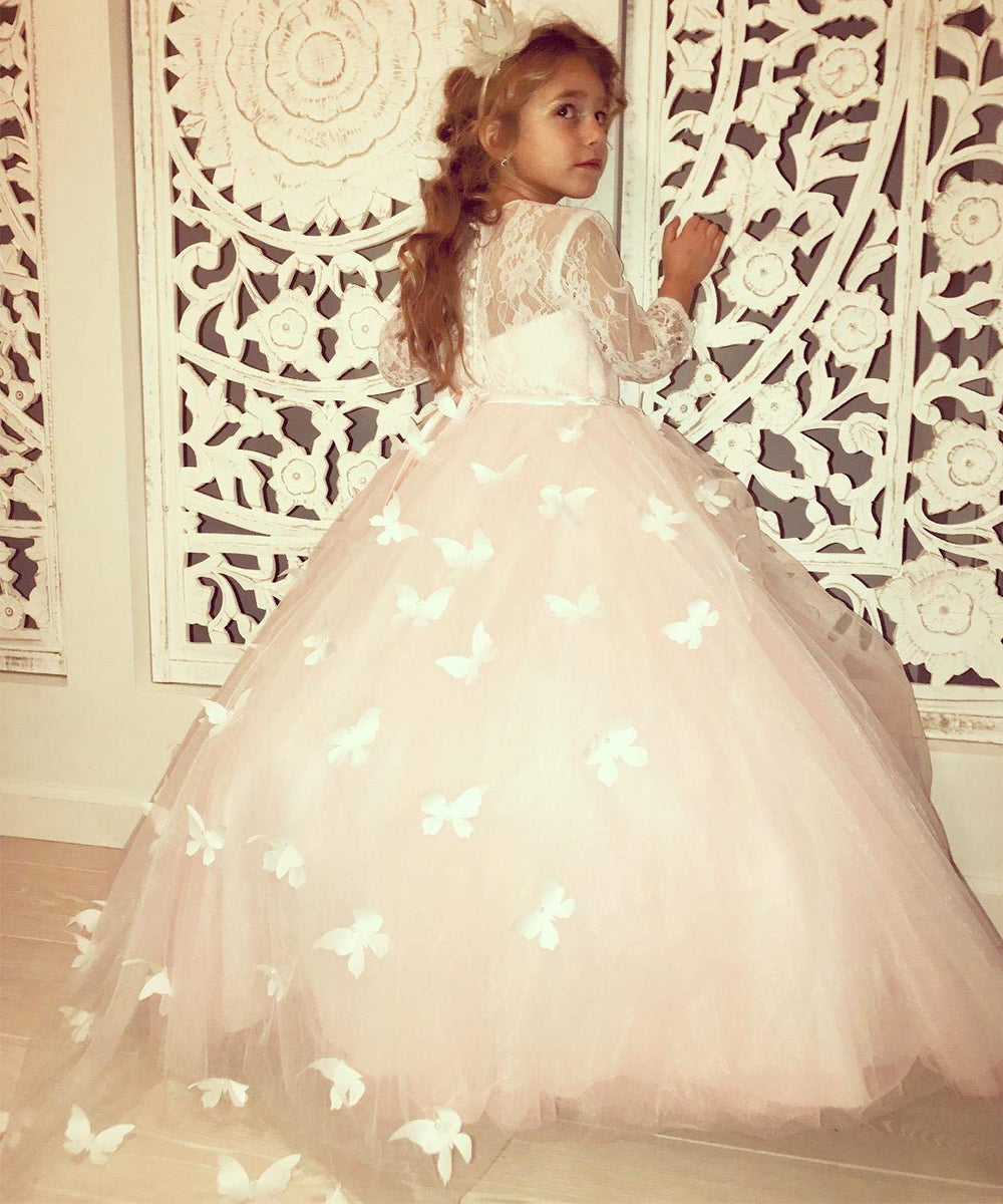 AbaoWedding Lovely First Communion Dress Long Sleeves Pink Prom Gown
