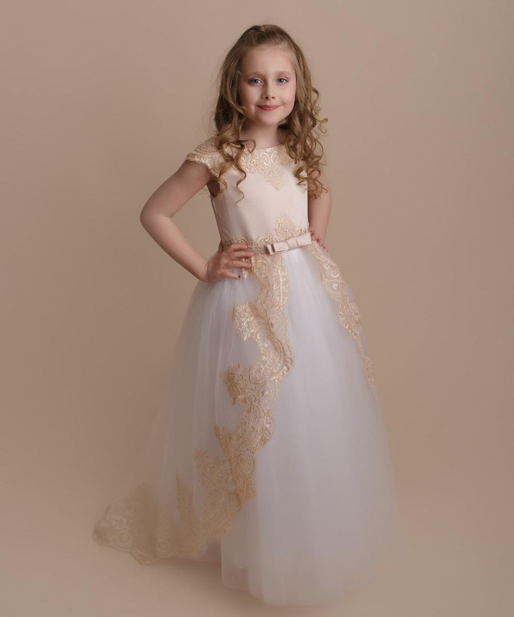 AbaoWedding Lace Tulle Flower Girl Dress Princess Communion Ball Gown With Satin Bow Sash