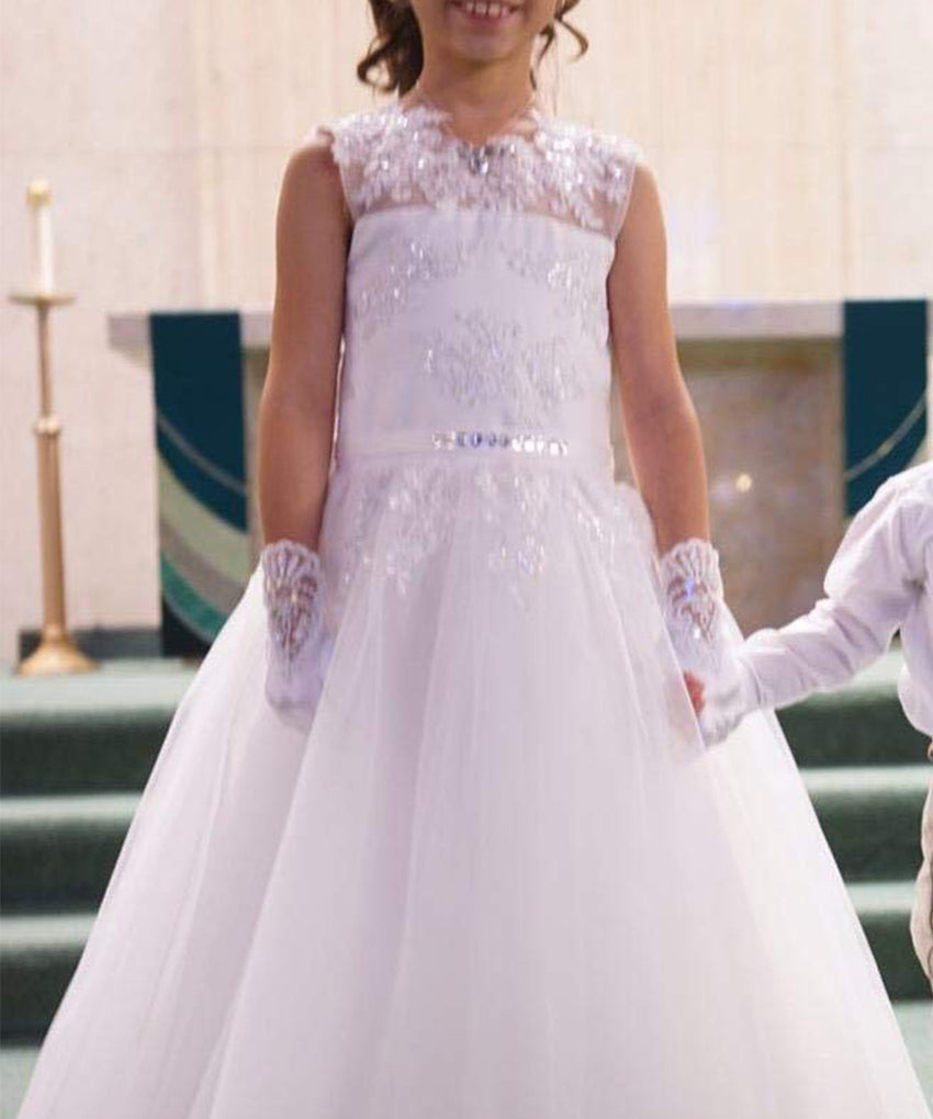 ABaoWedding Vintage Princess Ball Gown Lace up Flower First Communion Girl Dresses White Ivory