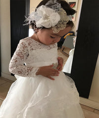 ABaoWedding Long Sleeves Flower Girl First Communion Dresses Princess Pageant Party Dress