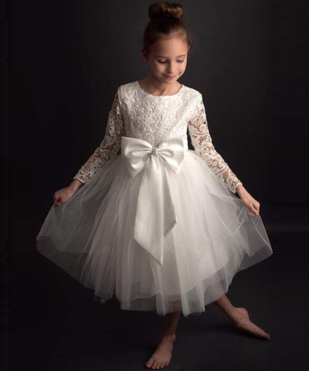AbaoWedding Flower Girl Dress Long Sleeves Lace Top Tulle Skirt Kids First Communion Gowns