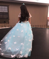 AbaoWedding 3D Flowers Vintage Kids Prom Ball Gowns Fancy Flower Girl Dress