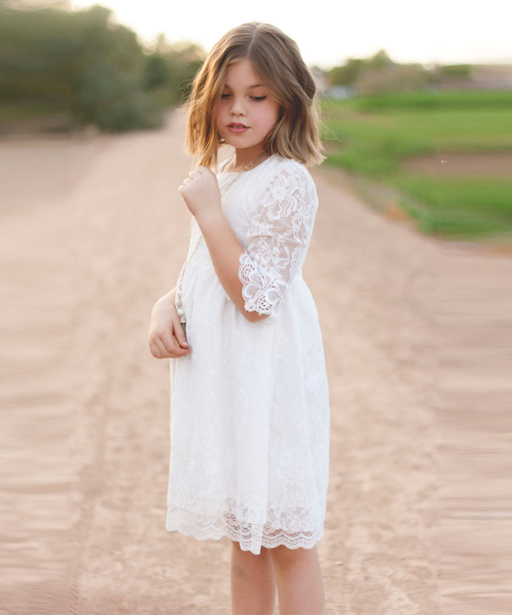 AbaoWedding Vintage Flower Girls Lace Dresses Sleeves Kids Party Gowns